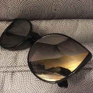 Accessories - Cat Eye Sunglasses Mirrored Lenses Black